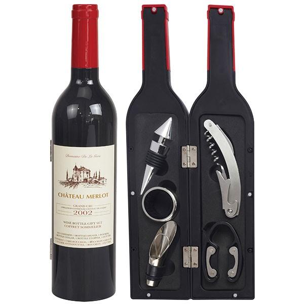 סט אביזרי יין בתוך בקבוק יין