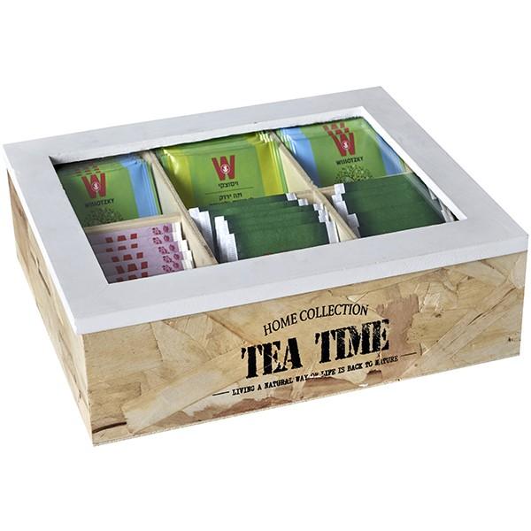 מארז עץ טבעי לתה, 6 תאים